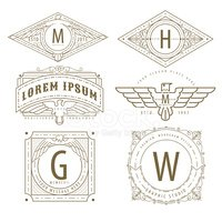 set of luxury hipster golden linear monogram minimal geometric vintage