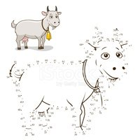 Connect the dots game goat vector illustration