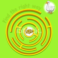 Game labyrinth find a way goose vector illustration