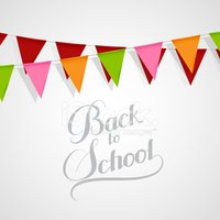illustration of Back To School retro label and bunting flags.