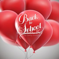 Back To School retro label with flying balloons