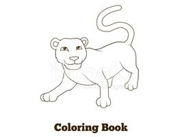 Coloring book panther african animal cartoon educational illustr