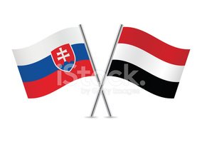 Yemen and Slovakia flags. Vector.