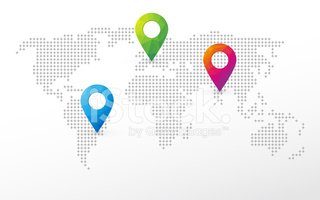 Simple world map with pins to mark the position stock vectors simple world map with pins to mark the position gumiabroncs Gallery