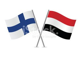 Yemen and Finland flags. Vector.