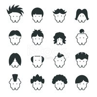 Hair Style Icons : Download Source File Browse > Hair Style Silhouette Icons