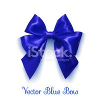 Realistic blue bow on a white background. Object for design.