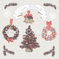 Vector hand drawn christmas set