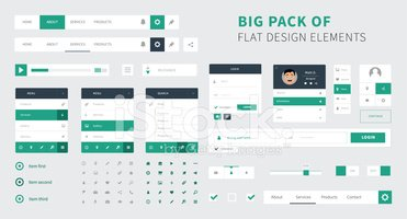 Pack of Flat design ui kit vector for webdesign