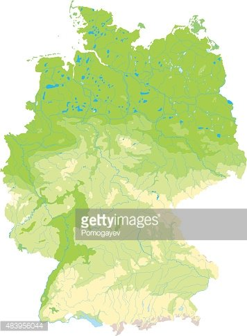 detailed physicaltopographic map of germany