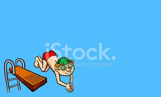 kid diving vector illustration