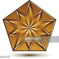 Royal golden geometric symbol, stylized golden star