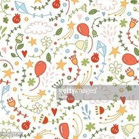 Vector seamless doodle floral pattern. Childish ornament.