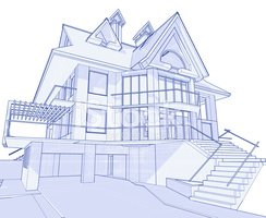 House blueprint 3d technical concept draw stock vectors clipart house blueprint 3d technical concept draw malvernweather Gallery