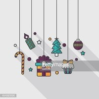 Christmas hanging flat icon with long shadow,eps10