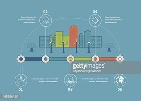 Ecology illustration infographic elements flat design. City landscape. Environmentally friendly