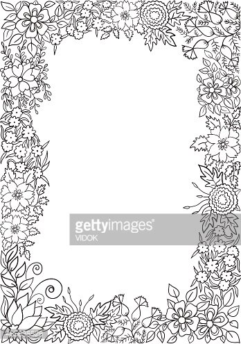 Black And White Floral Vector Stock Vectors Clipart Me