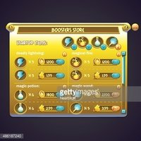 Example of window purchasing boosters in a computer game