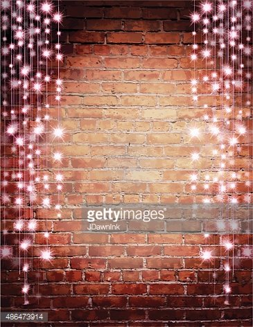 Rustic Old Fashioned Brick Wall With Pink String Lights Background