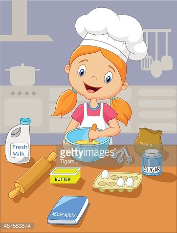 Cartoon little girl baking