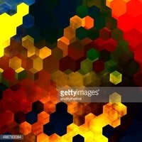 Abstract colorful hexagons illustration. Small tile or block. Wallpaper art.