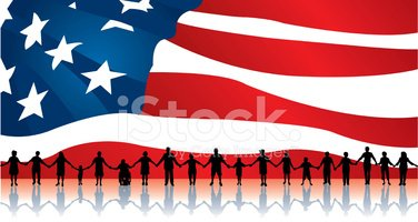 People Standing United with American Flag Backdrop