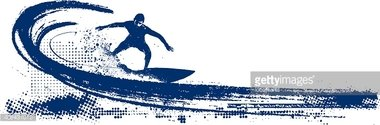stencil surf scene with pipeline wave and surfer