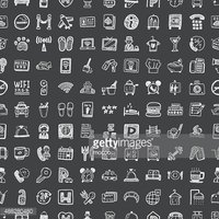 doodle hotel , seamless pattern background