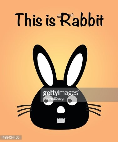 This is rabbit, bunny vector, cute rabbit colorful. orange background