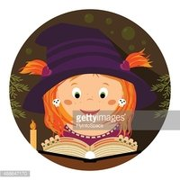 Halloween illustration. Cute little whitch-girl reading a spellbook