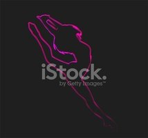 Abstract outline silhouette Woman ballet dancers