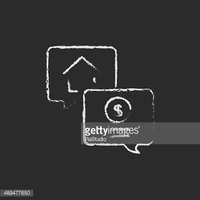 Real estate transaction icon drawn in chalk