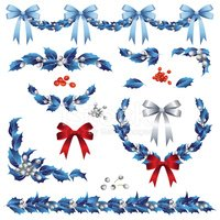 Holly,Garland,Christmas,Blu...