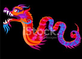 Chinese dragon on the black background