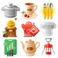 Cooking utensil icon set