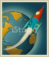 Rocketship with Earth in Background