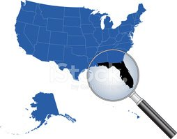 Map,USA,Florida,Magnifying ...