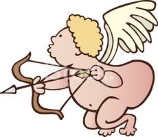 funny cupid with bow