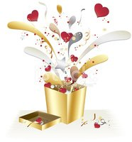 Hearts and Metallic Gold Gift Box with Confetti Celebration Desi