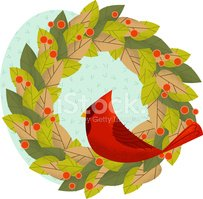 Christmas,Wreath,Cardinal,R...