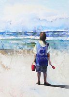 Watercolor Painting,Beach,S...