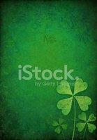 green floral background with shamrocks
