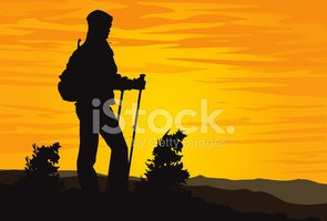 Hiking,Silhouette,Mountain,...