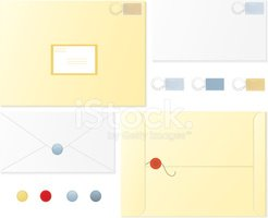 Set of Envelopes With Postage Stamps, Postmarks, Wax Seals stock ...