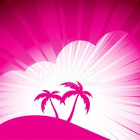 Palm Tree,Island,Pink Color...