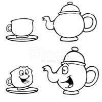 Teapot,Cup,Cartoon,Black Co...