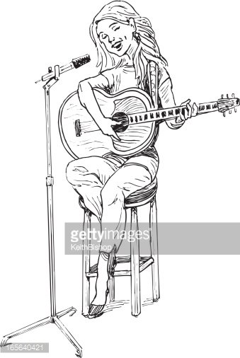 Girl Singing With Guitar And Microphone Stock Vectors