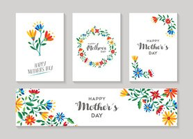 Happy mothers day card and label floral set