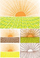Farm,Woodcut,Sun,Field,Natu...