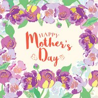 Happy Mothers Day lettering. Mothers day greeting card with flowers.